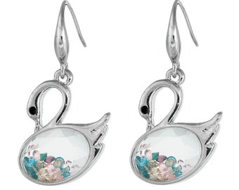Swan Crystal Earrings - Bright Silver with Transparent Clear Crystal filled with colorful stones