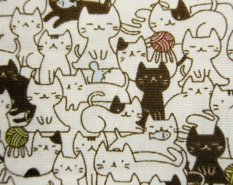 Animal Print Fabric - Cat Mosaic Fabric - Cotton Fabric By The Yard - Half Yard