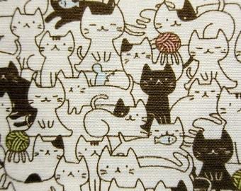 Cat Mosaic Fabric - Kawaii Animal Cotton Fabric By The Yard - Half Yard