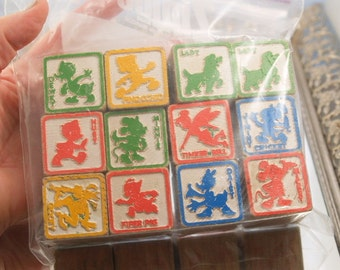 12 Vintage Disney Blocks Wooden Childrens Blocks Mickey Mouse Tinkerbell Minnie Mouse