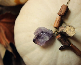 Wychwood. Rustic Bohemian Pagan Earthy Natural Amethyst Crystal and Branch Bead Necklace.