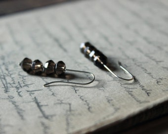 The Jetty Earrings. Modern Rustic Boho Sterling Silver Illusion Smoky Quartz Line Earrings.