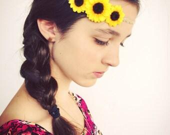 Triple Sunflower Headband, Yellow, Burlap, Elastic