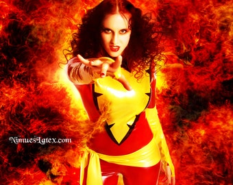 Dark Phoenix X Men Cosplay Costume, includes sexy LATEX catsuit, gloves and sash, made to measure