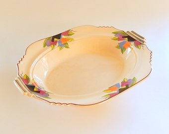 "Farberware Modernist Art Deco Oval Veg Chop Dish: Sebring's Leigh Potters ""Paris"" Abstract Tulips on Umbertone, 1920's JP Thorley"