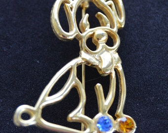Cute Vintage Gold tone, Rhinestone Puppy Dog Brooch, Pin, Animal (V16)