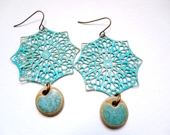 Turquoise Filigree and Ceramic Dangle Earrings