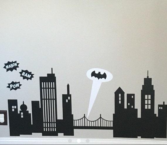 Gotham city wall decal batman gotham city skyline wall for Batman cityscape wall mural