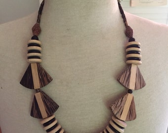Wood beaded Necklace Boho Ethnic Tribal