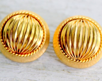 Gold Clip On Earrings 1960s