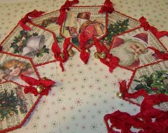 Christmas Banner Vintage Style Christmas Garland