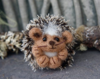 Baby Hedgehog (1) needle felt wool miniature animal (woolcrazy)