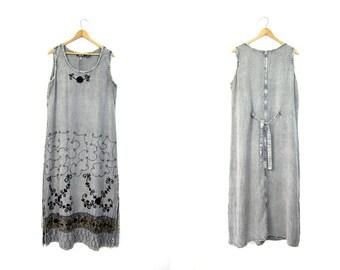 Maxi Indian Dress Floral Embroidered Long Festival Gypsy Sundress Gray Grey Hippie Dress 90s Grunge Ethnic Boho Maxi Sun Dress Large Medium