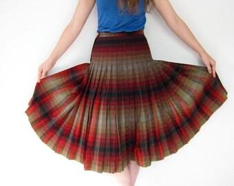 Plaid 60s Wool Skirt Pendleton Pleated High Waist Preppy Fall Skirt Midi Over Knee Length Mod Dark Red Blue Ochre Small Louanne's Vintage