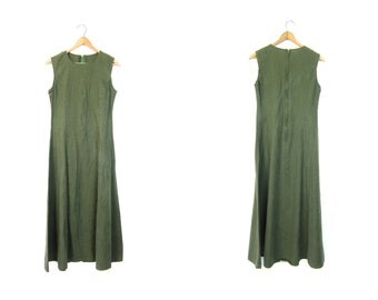 Army Green Dress Cotton Dress Long Maxi Sun Dress 90s Earthy Grunge Hippie Boho Slip Dress Basic Vintage Sun Dress Small