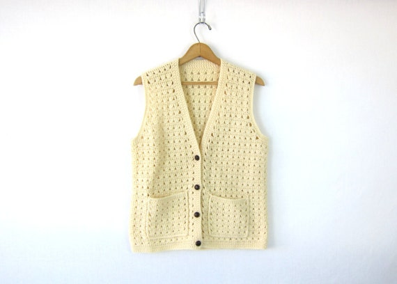 Open Knit Sleeveless crochet Sweater Hand knit wool vest Fishermens off white Button Up Thick Chunky Sweater Long Vest Pockets Medium Large