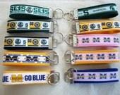 Collegiate Key Fob - Michigan State Key Fob - U of M Key Chain - Wristlet Key Fob - Football Team Key Fob - Green & White - Sparty