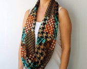 50% CLEARANCE SALE Hounstood Checkered Brown Blue Infinity Scarf Spring Fashion Women Loop Circle Scarf Chiffon Scarf