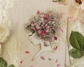 Postcard - illustration - woman portrait - profil - flower - Lola