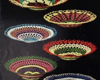 Vintage 1940s 1950s Crochet Pattern Bowls and Plates Dewhurst's Leaflet No. 6041 UK Sylko Perle Cotton 40s 50s original pattern home decor