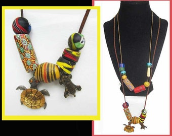 Good MOJO-2 African Bead Necklaces on Cord,Metal Turtle and Mole Charms,People Face Beads,Vintage Jewelry,Unisex