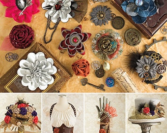 FABRIC FLOWER PATTERN / Steampunk - Victorian - Wedding Favors - Gift Tags / 12 Styles