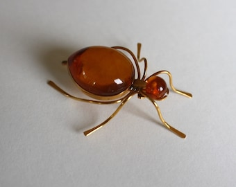 MIDCENTURY AMBER SPIDER 9k gold vintage insect brooch pin circa 1960s