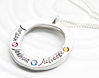 Organic Washer Necklace - Birthstone Mother's Necklace - Hand Stamped, Personalized Birthstone Washer Necklace - Grandmother's Necklace