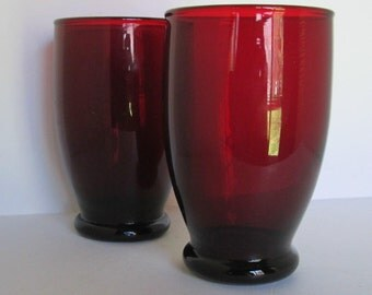 2 Vintage Royal Ruby Red Glass Tumblers Juice
