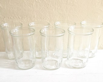 Set of 7 Clear Vintage Jar Drinking Glasses Small Tumblers