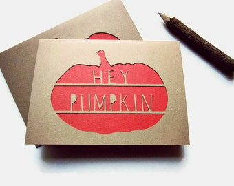 Pumpkin Cards - Hey Pumpkin Cards Set - Hello Cards - Thanksgiving Greetings - Thanksgiving Note Cards - Rustic Fall Card Set - Note Cards