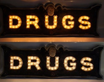 Custom FCV Vintage Marquee art  DRUGS aranacci inspired at The Parker Palm Springs