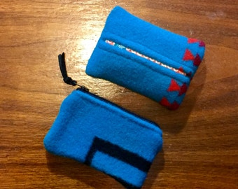 Gift Set of 2 / Purse Set of 2 / Organizer Set Wool Turquoise Southwestern Tribal Handcrafted Using Fabric from Pendleton Woolen Mill