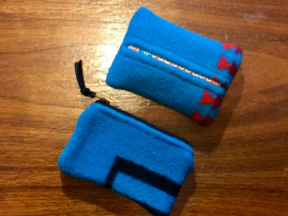 Gift Set of 2 / Purse Set of 2 / Organizer Set Wool Turquoise