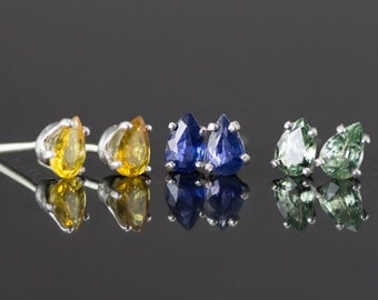 Sapphire Studs - Sterling Pear Cut Sapphire Earrings- Blue, Green, Pink and Orange!