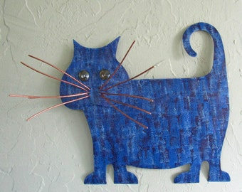 Metal Wall Art Cat Sculpture Recycled Metal Kitty Wall Decor Purple Cobalt Blue Fat tabby Cat Indoor Outdoor Wall Art Cat Lover 13 x 13