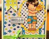 Summer Beach Boy Handmade Greeting Card