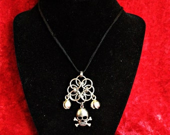 Chainmail Skull and Crossbones Pendant Jolly Rogers Pirate with bells
