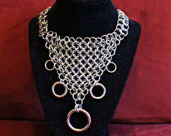 Cascading Rings V neck Bondage Necklace Choker Stainless Steel Chainmail Chainmaille