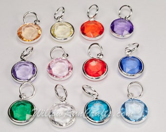 12 Acrylic Crystal Dangle Charms for Expandable Bracelet and Necklaces, You will receive 1 of each color. (07-13-188)