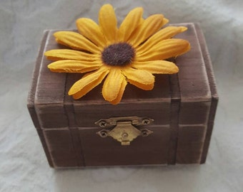 Rustic Country Personalized Wedding Ring Box Sunflower