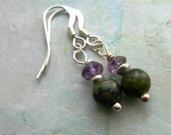 Connemara marble & purple amethyst earrings. Wild Heather