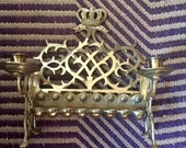 Crowned Swans Candelabra - 10 candle Sabbath - rare Jewish decor - solid brass candelabra - mythology - mennorah - religious collectible