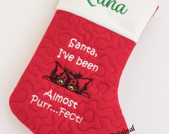 Personalized Christmas Stocking for the Cat!  Almost Purr---fect!