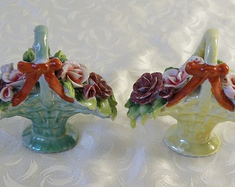2 Baskets of Flowers Place Holders Lustreware Porcelain Germany