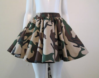 Army Fatigue Flare Skirt - Tan