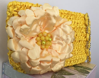 Colorful Clutch / Large Clutch / Yellow Clutch / Summer Clutch / Bridesmaid Clutch / Flower Clutch / Fun Clutch - Ready to Ship