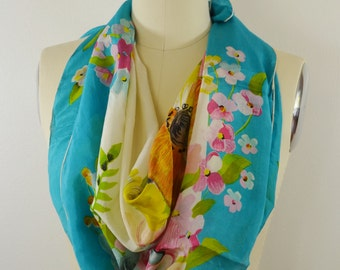 Vintage Women's Scarf Gorgeous Teal Floral Looks Handpainted