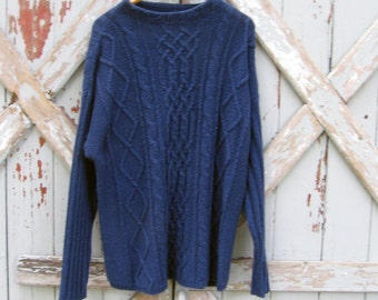 Vintage navy cabled oversize sweater L XL 2X