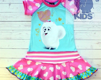 A dress made out of authentic Secret life of pets tshirt cool funky recycled upcycled  pieced  size 4 (other sizes also available )